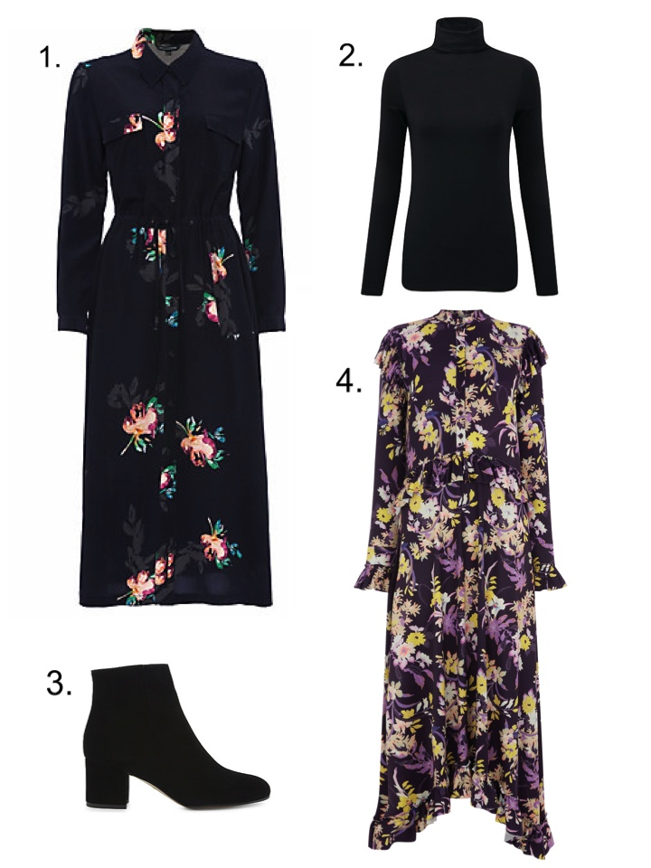 French Connection Midi Dress, Warehouse floral dress, Black Roll neck