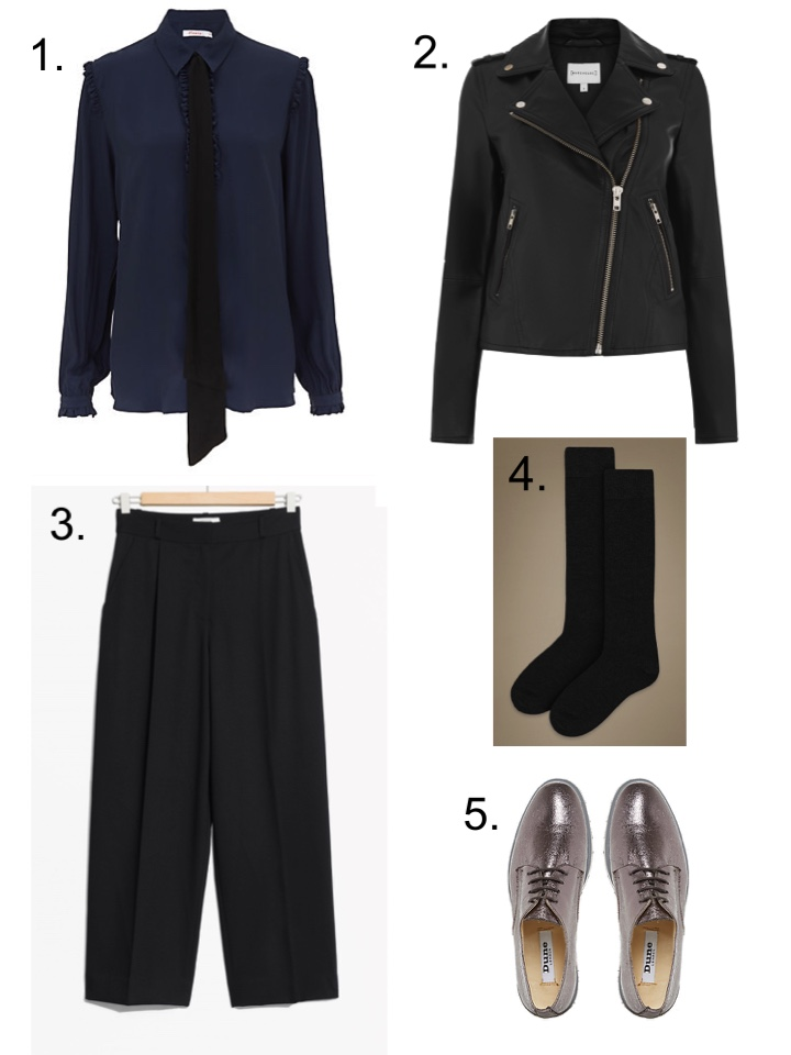 Cropped Trousers Other Stories, Finery shirt, Warehouse black leather biker jacket M&S Socks