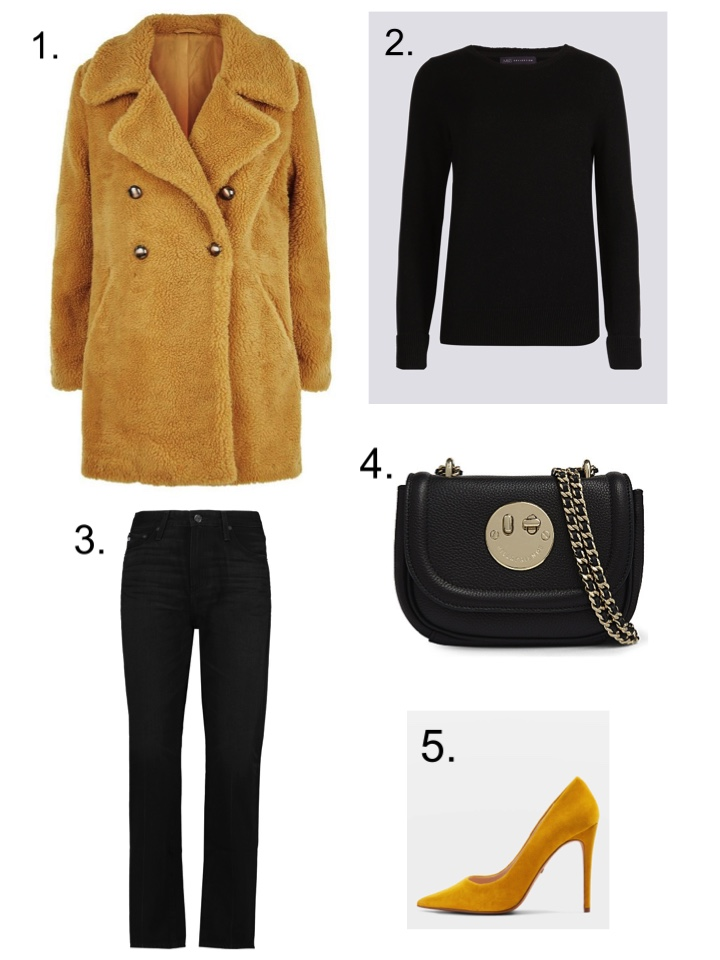 mustard faux fur coat, hill and friends bag, AG black Jeans