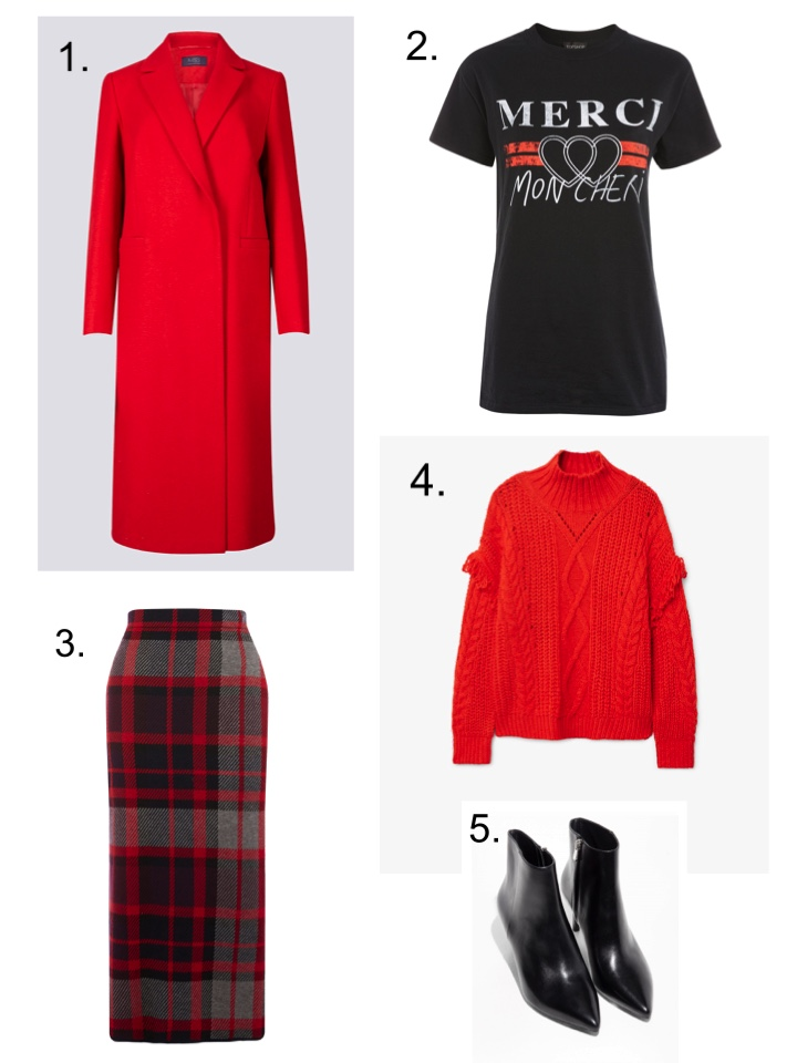 M&S Red Coat, warehouse checked skirt, mango red jumper