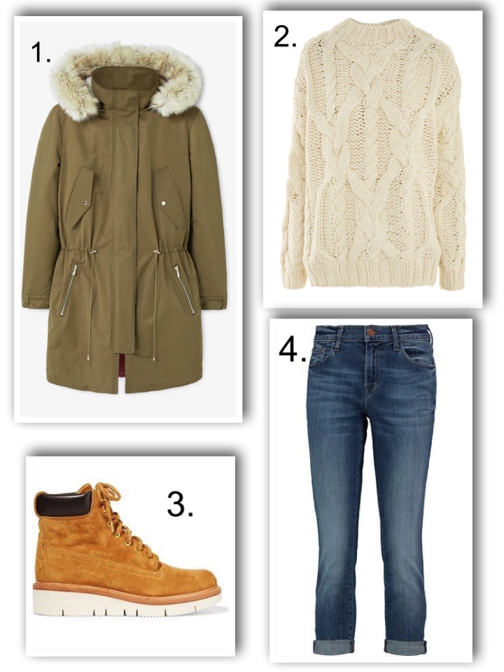 chunky boots, parka, topshop cable jumper