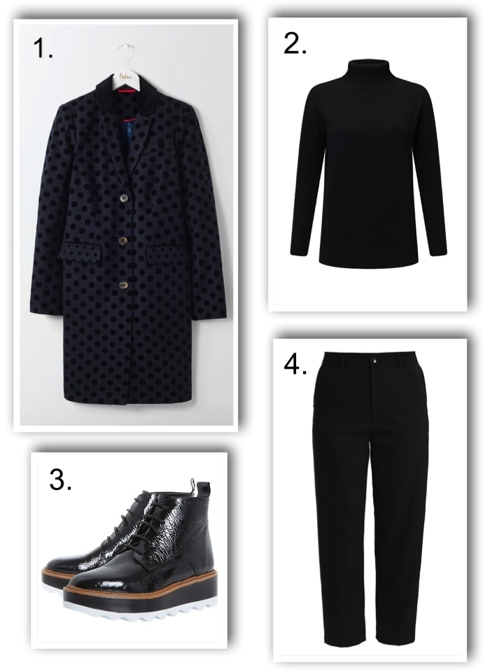 chunky boots, boden coat, mos mosh trousers