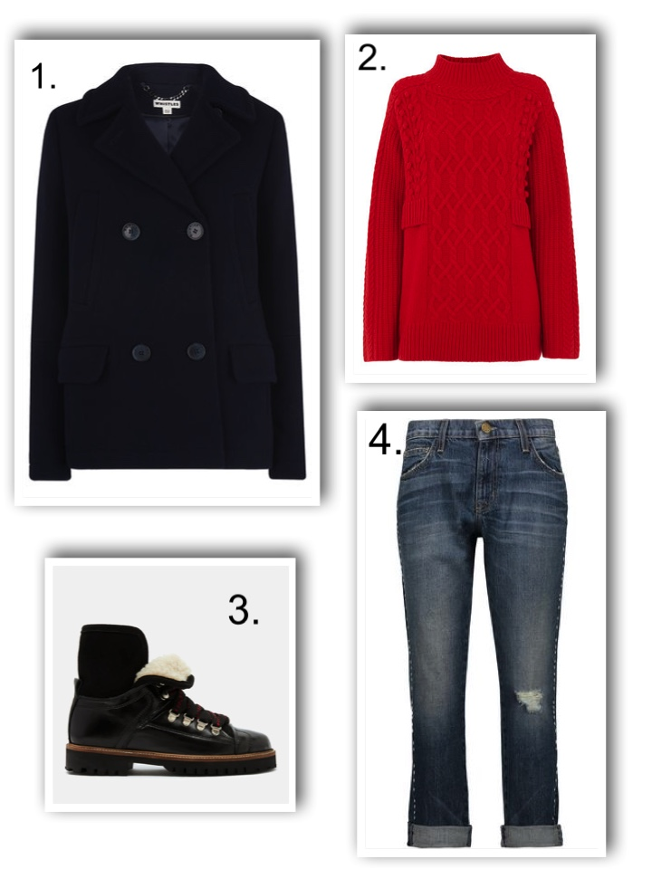 chunky boots, whistles pea coat, red jumper