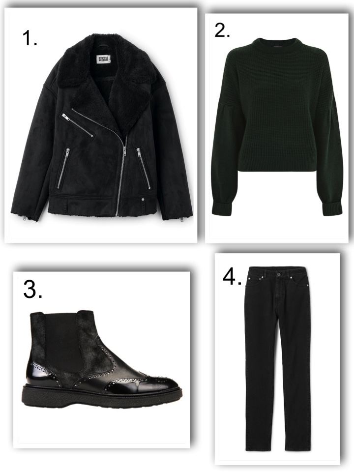 chunky boots, forest green jumper, weekday jacket