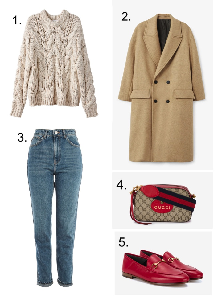 Chunky Cable knit sweater , Gucci bag, Gucci red loafers