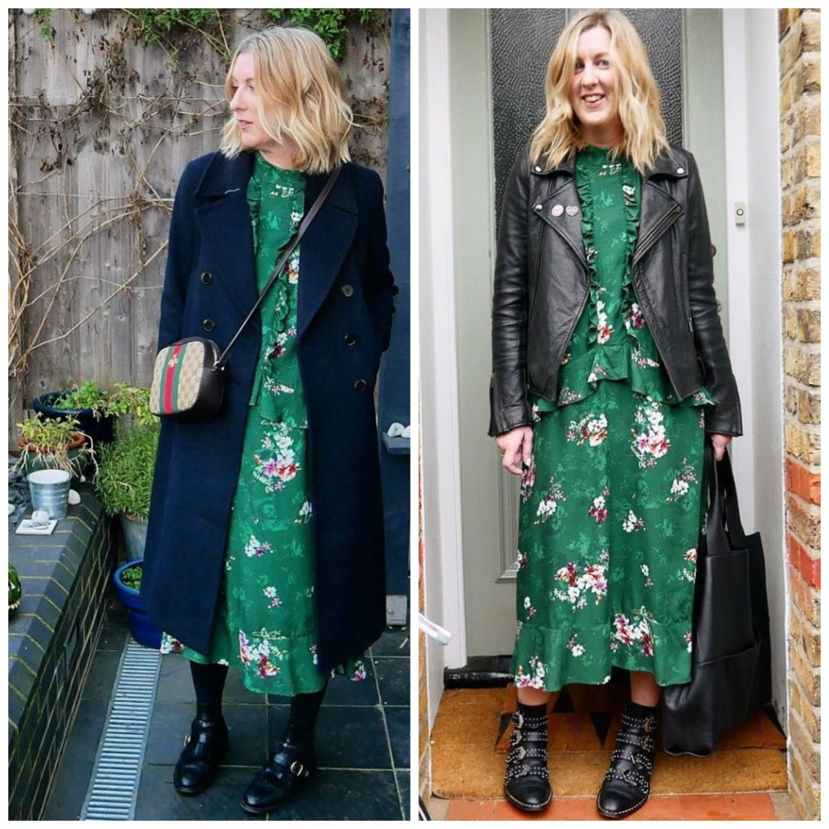 H&M green floral dress