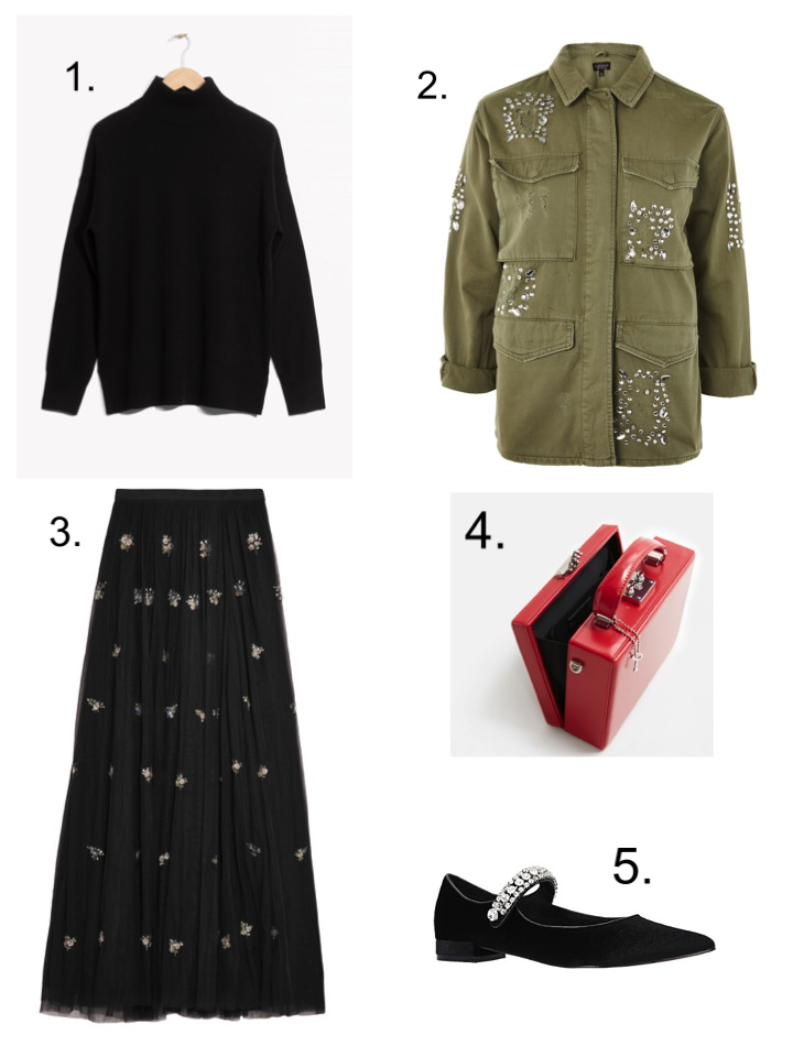Get the Jenna Lyons look, tulle skirt, embellished shacket, cashmere roll neck