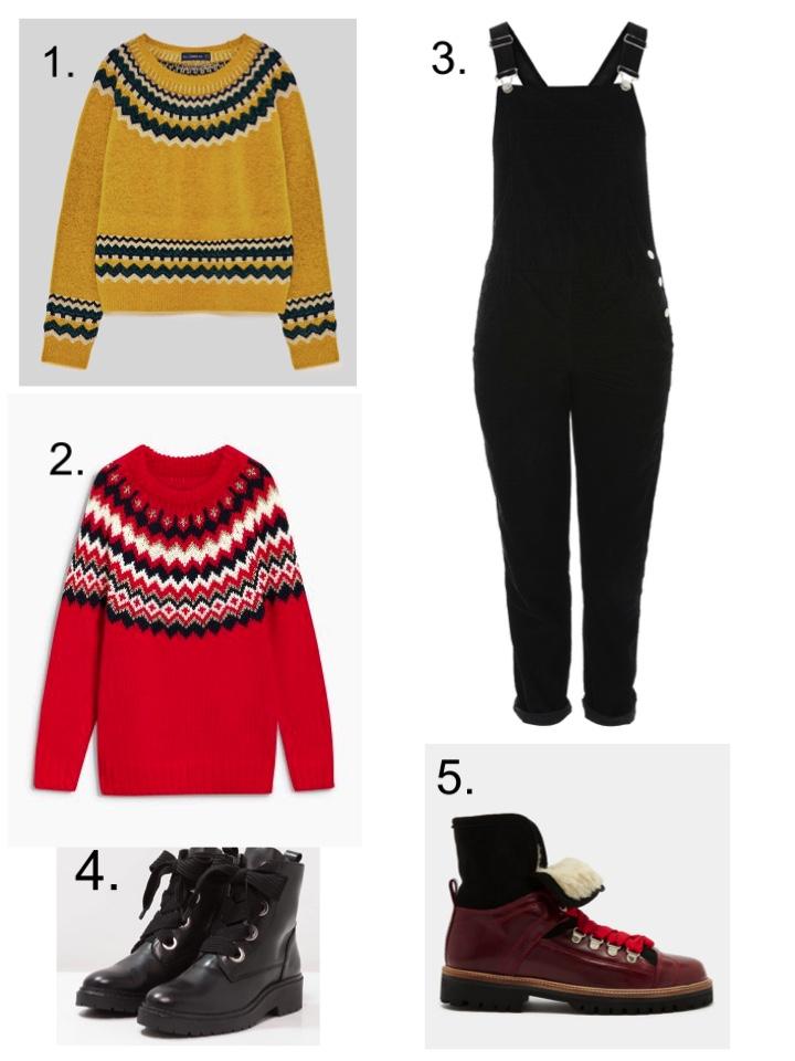 fairisle nordic sweaters, corduroy dungarees