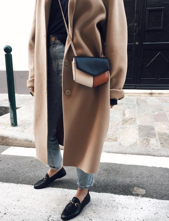 Camel coat worn with my favourite Gucci Loafers