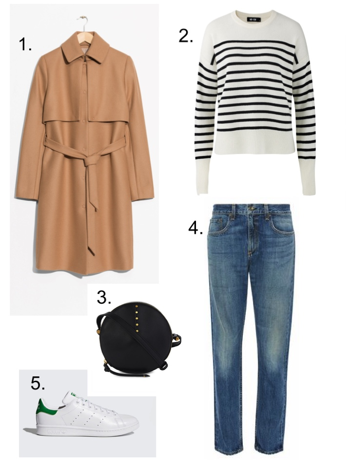 Camel Coat, trench coat, breton top, circle bag