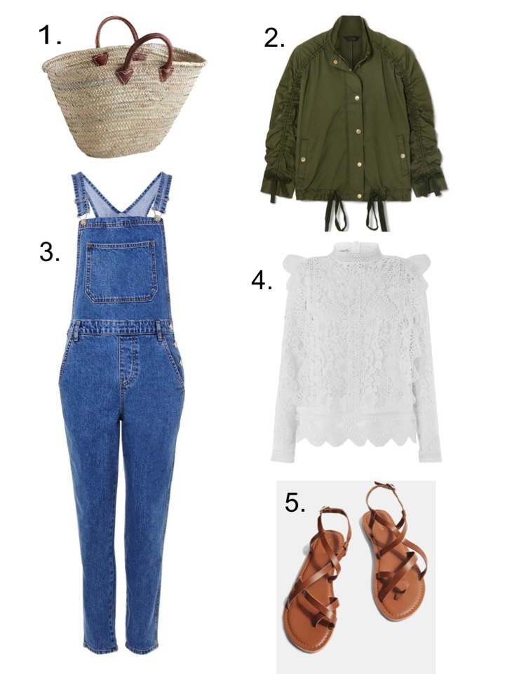 Dungarees Basket Bag Lace Top