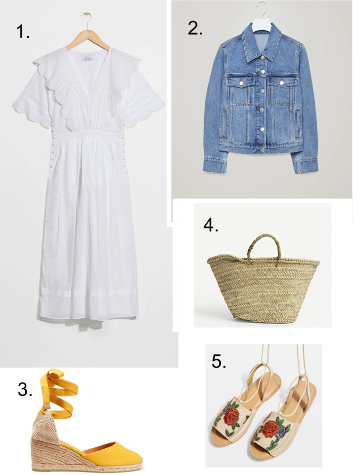 white dress and other stories denim jacket basket bag