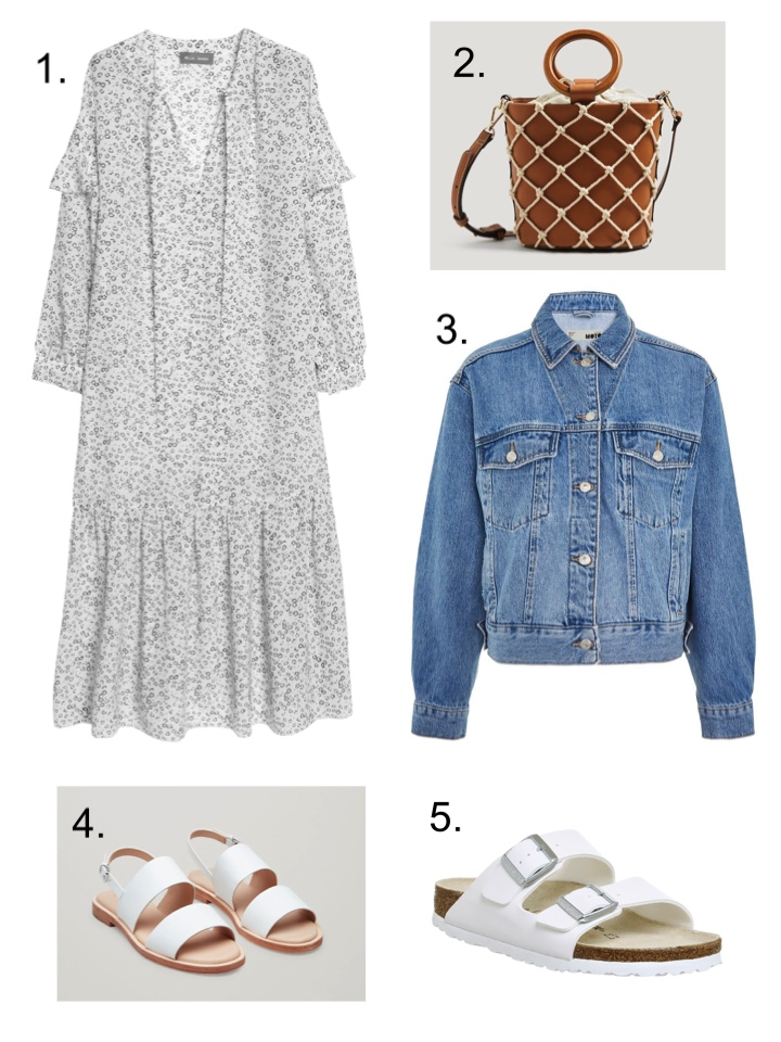 floral dress MIH denim jacket white birkenstocks