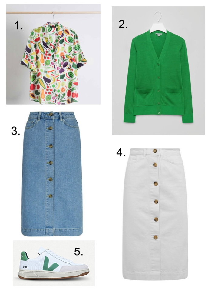 fruit and vegetable shirt denim skirt veja trainers