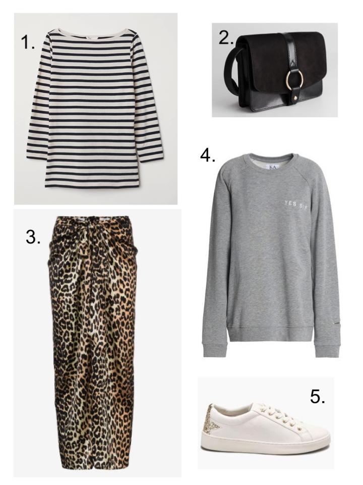 8a0d5fe497d3 Other Stories Gold Ring Leather Handbag · 3. Ganni Silk Leopard Print Calla  Skirt · 4. The Outnet Embroidered Zoe Karssen Sweatshirt
