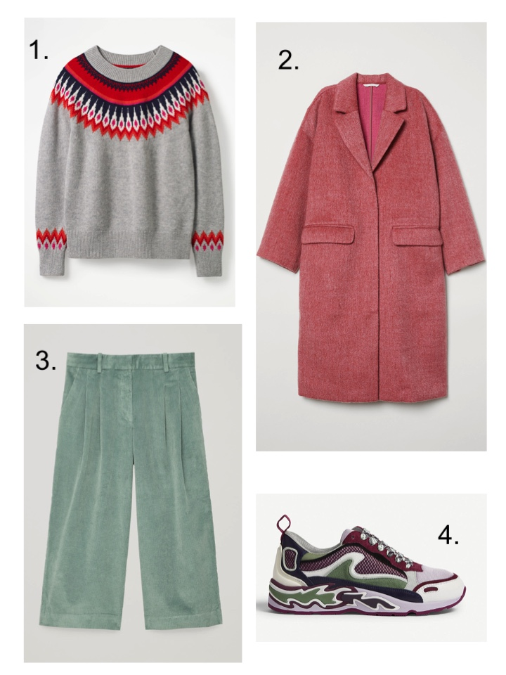 boden fair isle sweater, sandro flame trainers