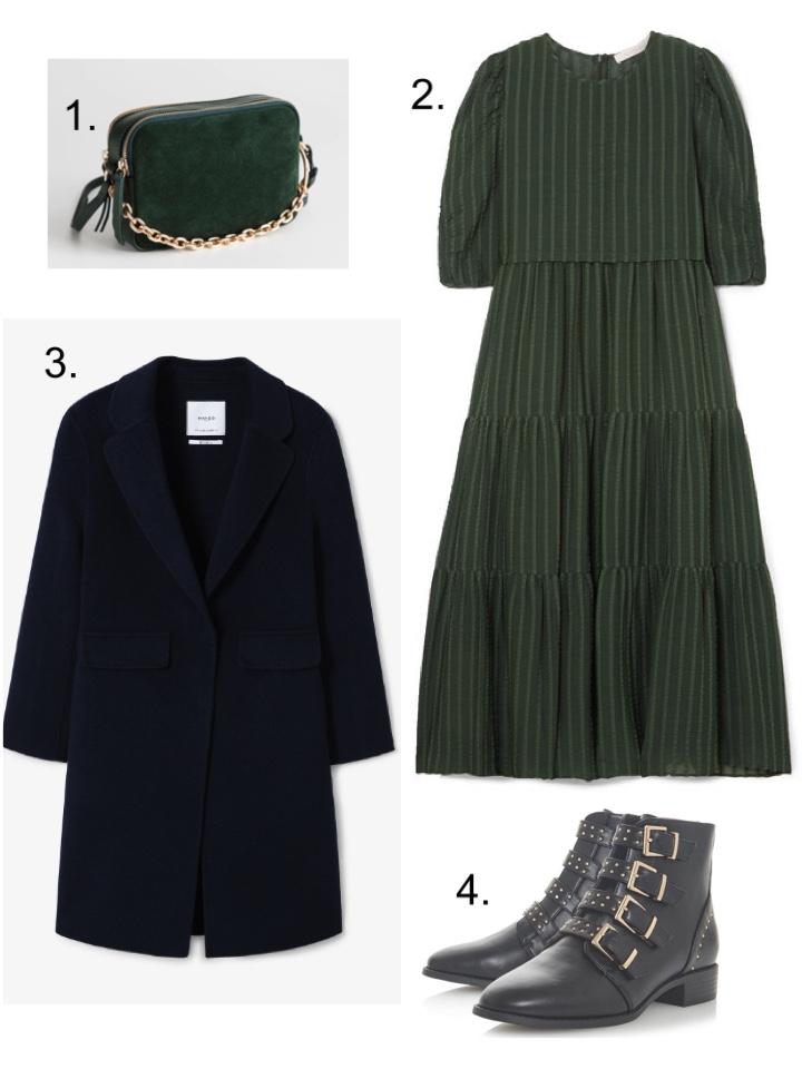 Navy Coat Mango, See by Chloe Green Dress