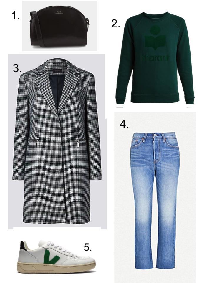 M&S Check Coat, Levis Wedgie Jeans, Veja V10 Trainers