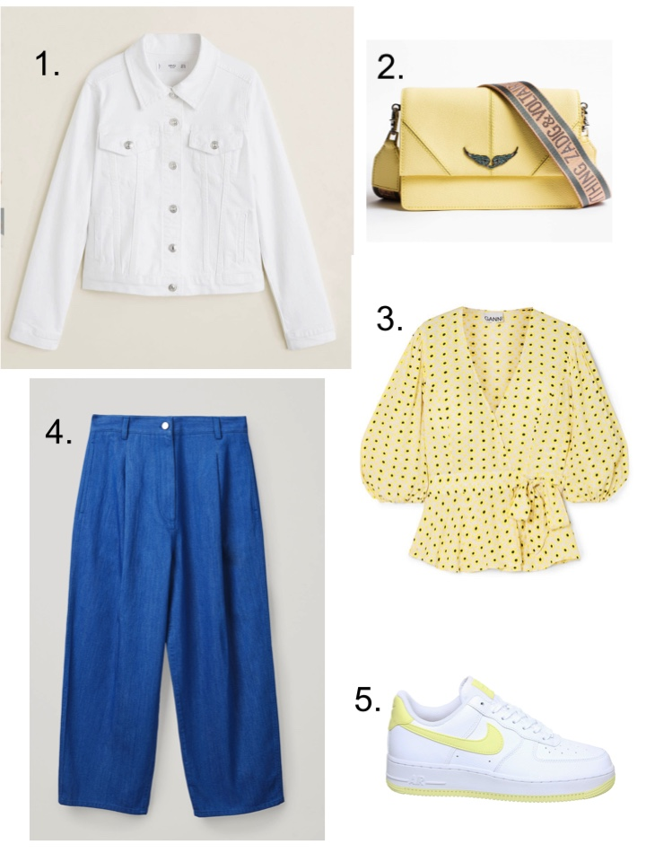 White Denim Jacket, Lemon accessories, summer whites
