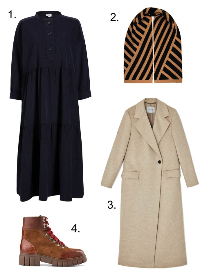 Layers cord dress and overcoat