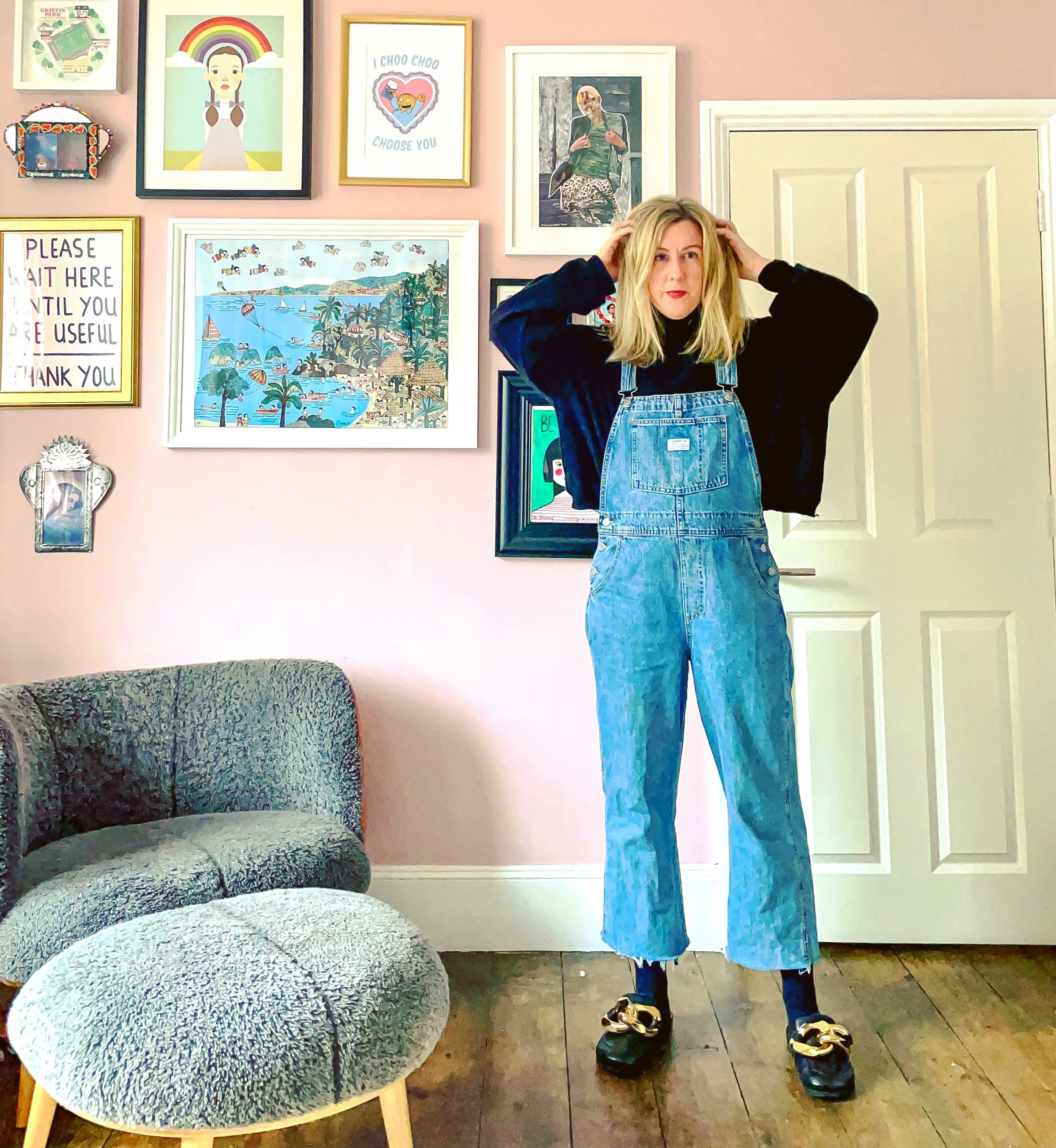 Dungarees AND stupid shoes! Whatever next?