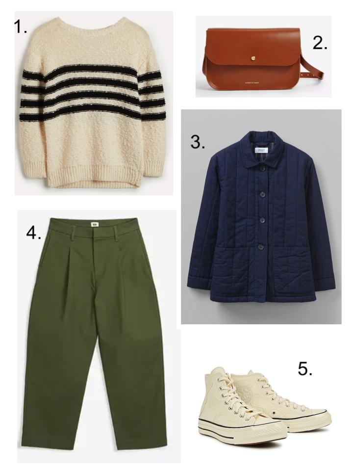 Stripe Jumper and Khaki trousers